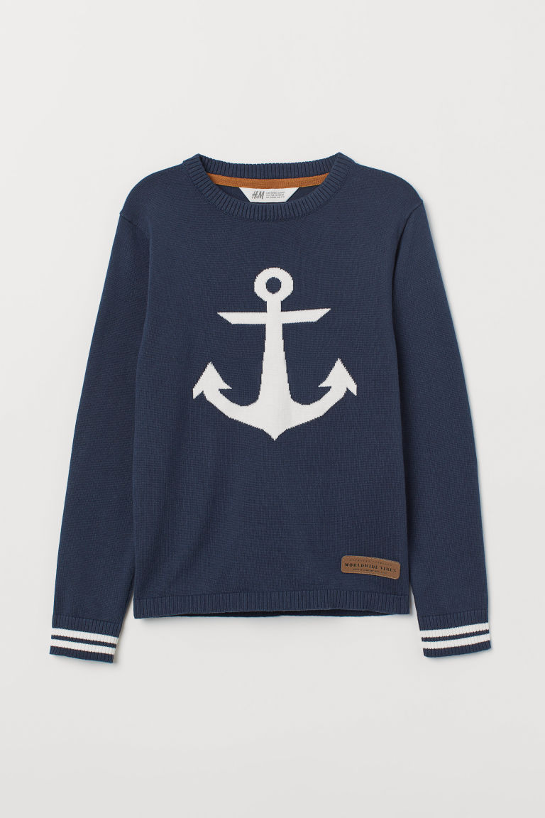 Knitted jumper - Dark blue/Anchors - Kids | H&M CN