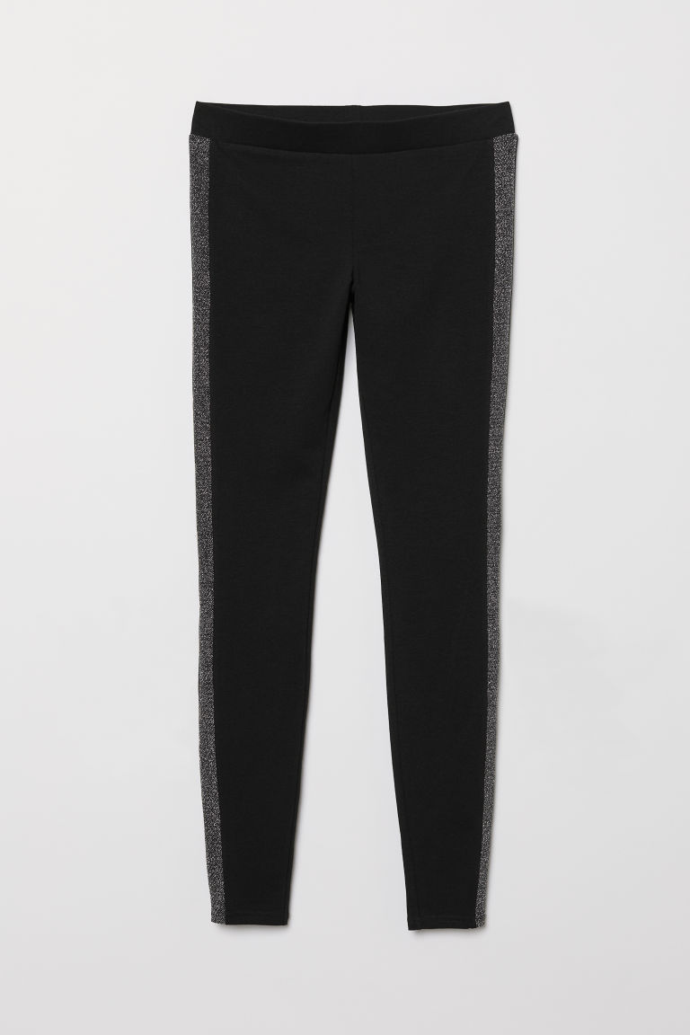 Jersey leggings - Black/Glitter -  | H&M