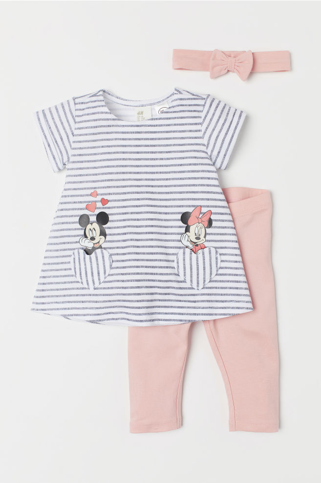 3e4de52bb10e 3-piece Jersey Set - Dusty rose/Minnie Mouse - Kids | H&M US