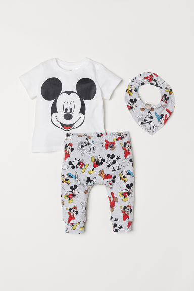Printed jersey set - White/Mickey Mouse - Kids | H&M