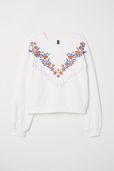 Sweatshirt with embroidery - White/Flowers - Ladies | H&M