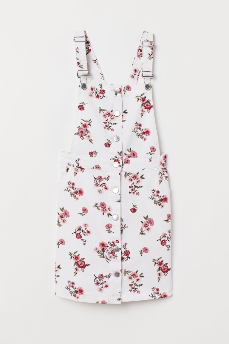 Cotton Twill Bib Overall Dress - White/floral -  | H&M US