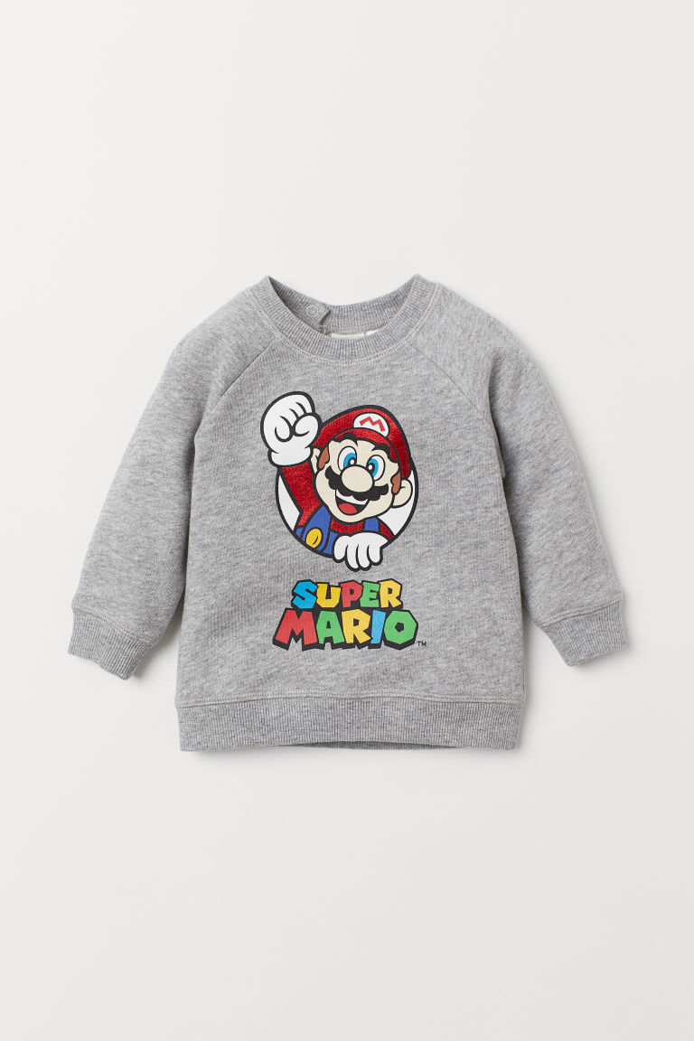 Printed sweatshirt - Grey marl/Super Mario - Kids | H&M IE