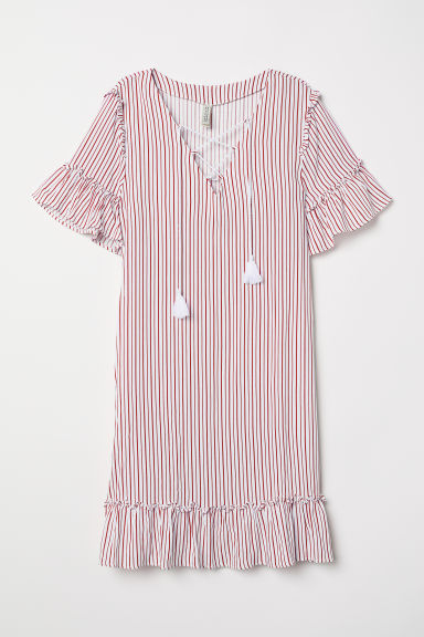 Dress with lacing - White/Red striped - Ladies | H&M