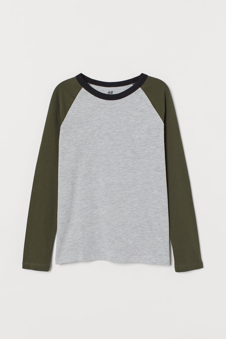 Jersey top - Grey marl/Khaki green - Kids | H&M