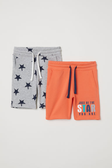 2-pack sweatshirt shorts - Neon orange/Star - Kids | H&M