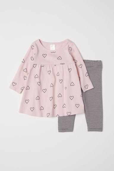 Jersey dress and leggings - Light pink/Hearts - Kids | H&M IE