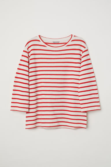 H&M+ Fine-knit top - Natural white/Red striped - Ladies | H&M