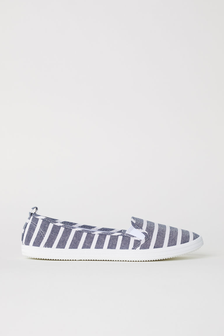 Slip-on trainers - Denim blue/Striped - Ladies | H&M