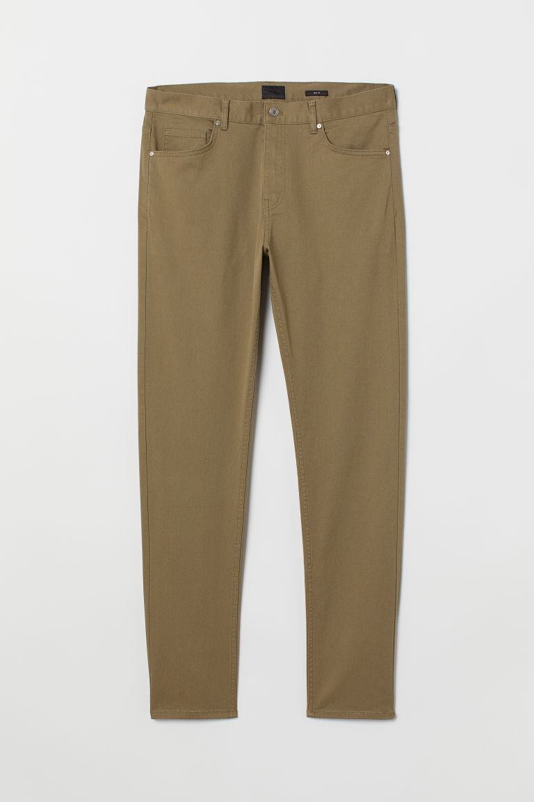 Twill trousers Slim Fit - Dark beige - Men | H&M