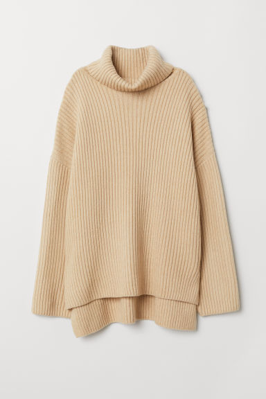 Knitted polo-neck jumper - Beige - Ladies | H&M CN