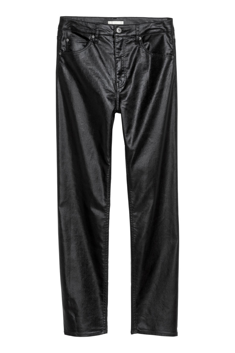 Stretch trousers High waist - Black/Coated - Ladies | H&M