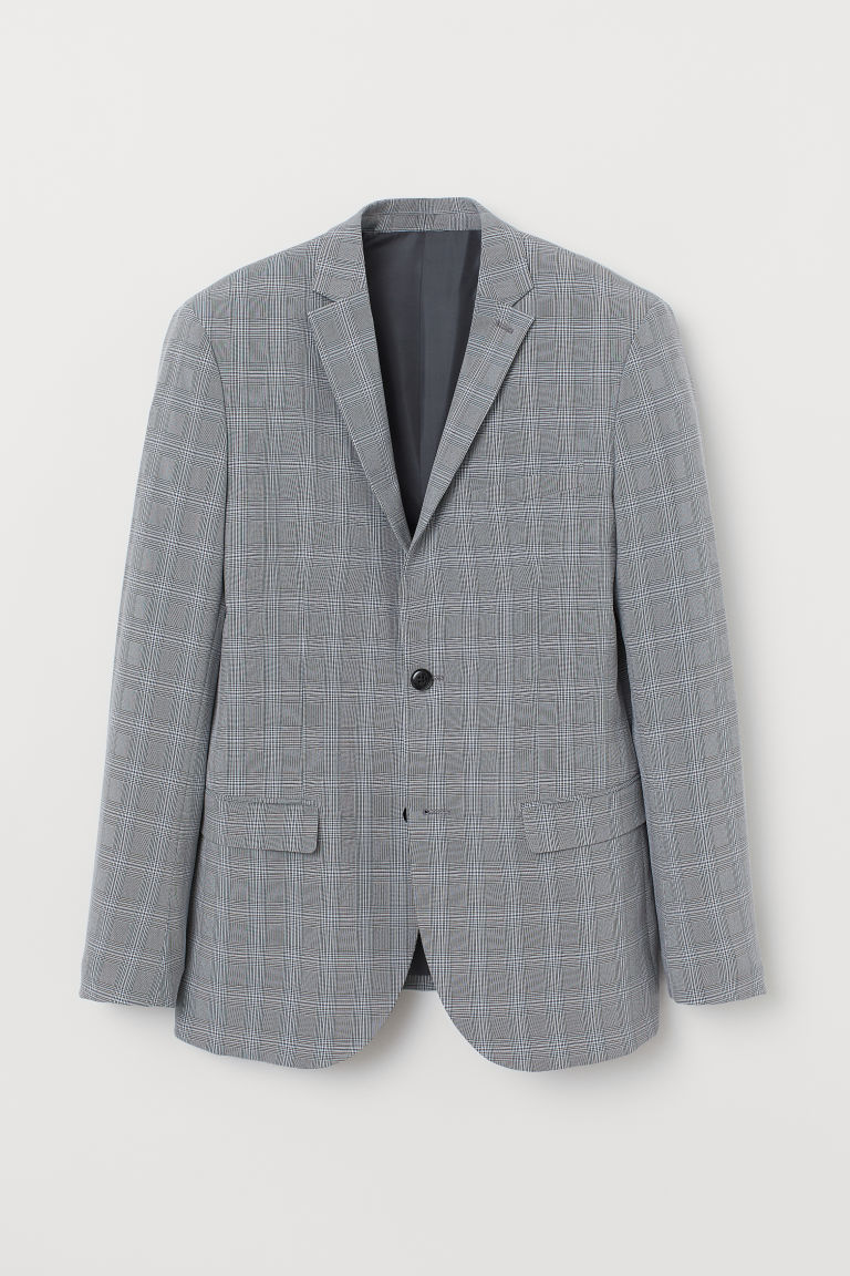 Jacket Slim Fit - Grey/Checked -  | H&M