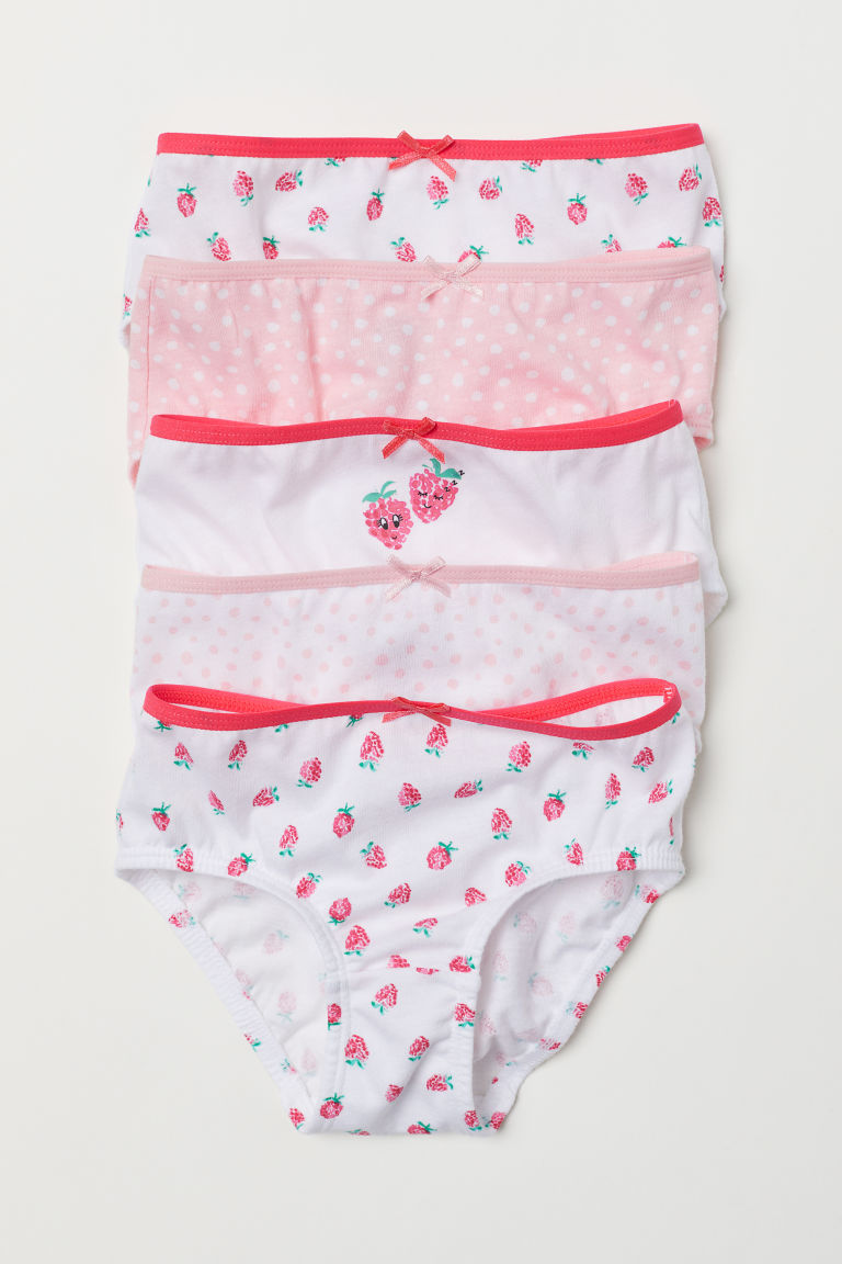 5-pack cotton briefs - White/Raspberry - Kids | H&M