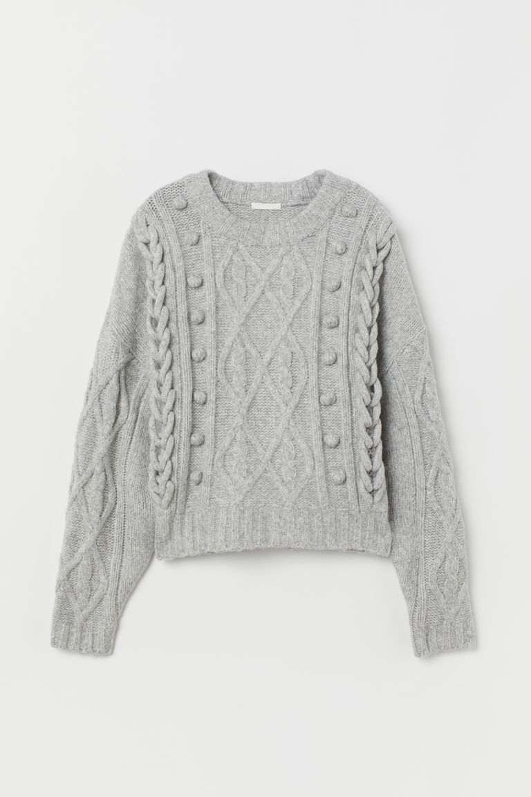 Cable-knit jumper - Grey marl - Ladies | H&M