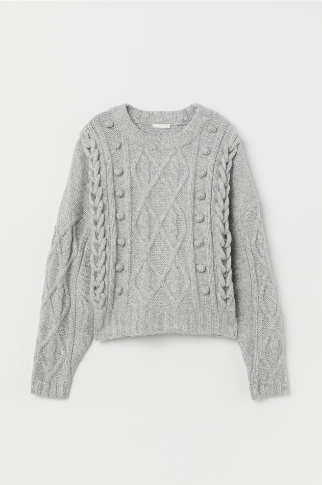 Cable-knit Sweater - Gray melange - Ladies | H&M US