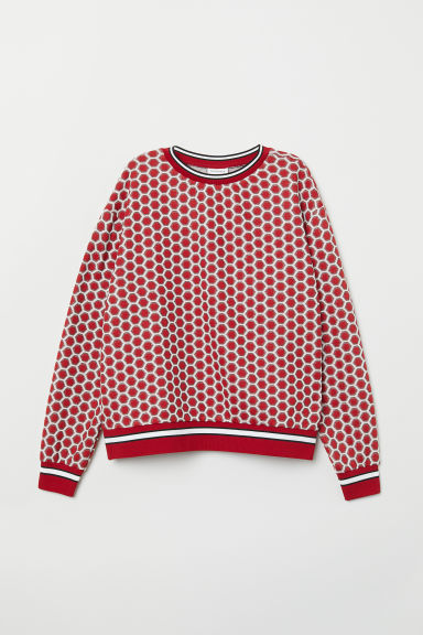 Patterned jumper - Red/Patterned - Ladies | H&M CN