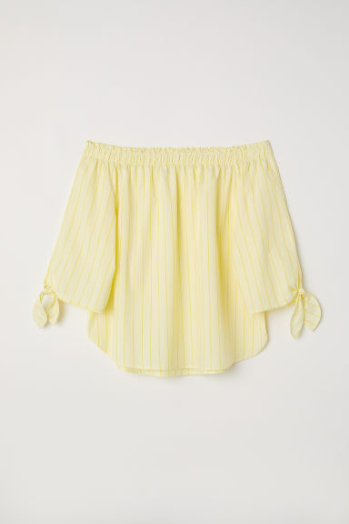 Off-the-shoulder top - Light yellow/Striped - Ladies | H&M CN