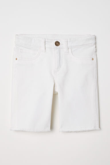 Long denim shorts - White - Kids | H&M CN