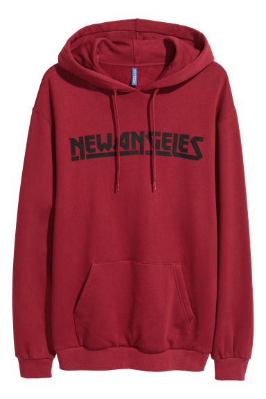 Hooded top with a print motif - Burgundy - Men | H&M GB