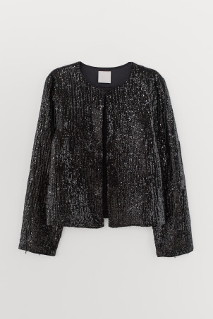 Sequined bead-fringed jacketModel
