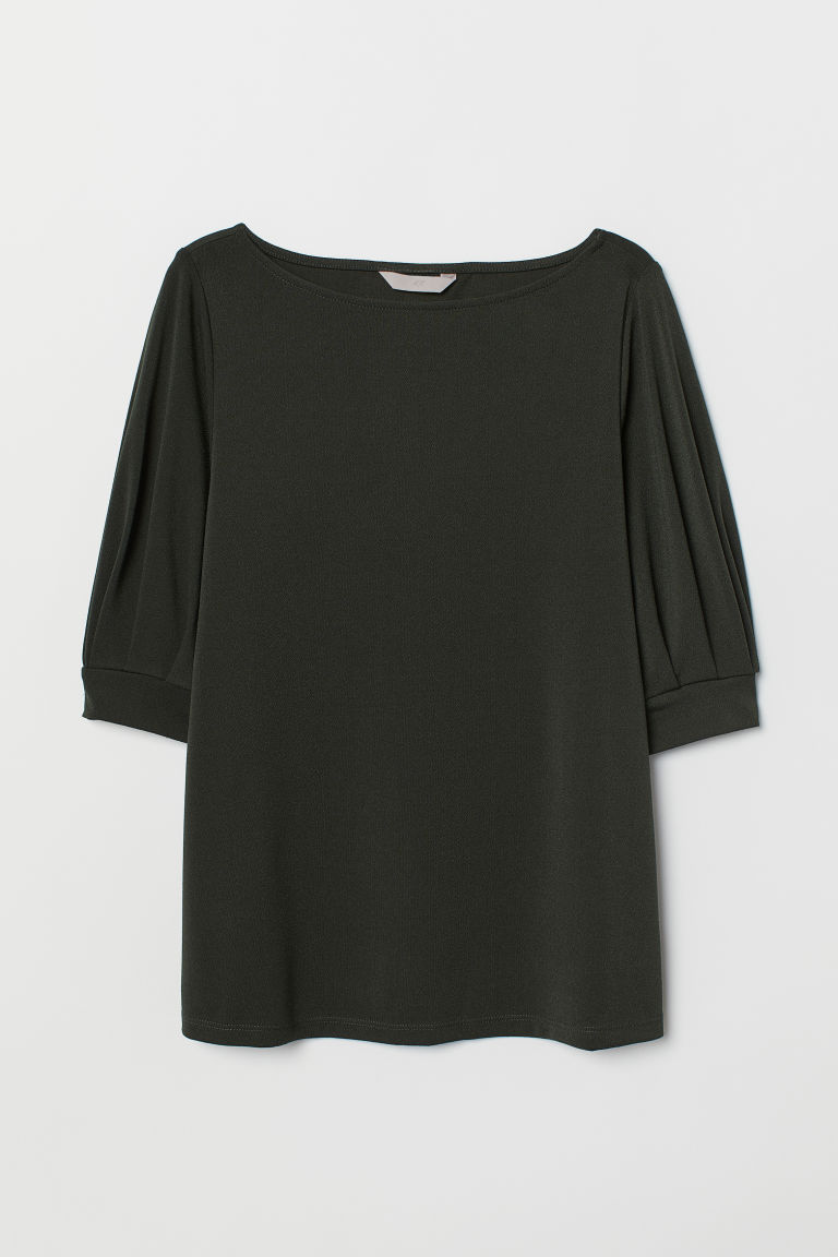 Jersey crêpe top - Dark green - Ladies | H&M IE