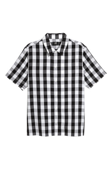 Lyocell shirt Regular fit - Black/White checked - Men | H&M GB