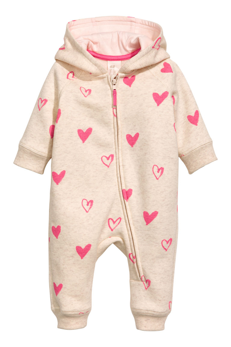 Sweatshirt all-in-one suit - Natural white/Hearts - Kids | H&M