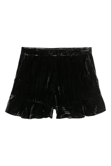 Velvet shorts - Black -  | H&M