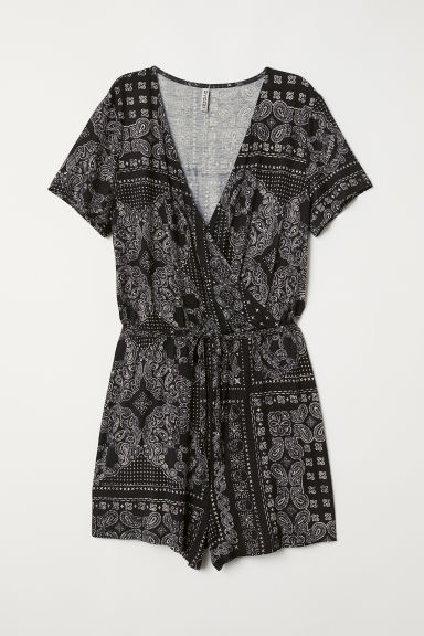 Jersey playsuit - Black/Paisley patterned -  | H&M CN