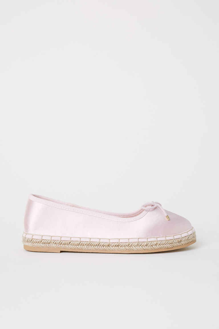 Satin espadrilles - Light pink -  | H&M CN