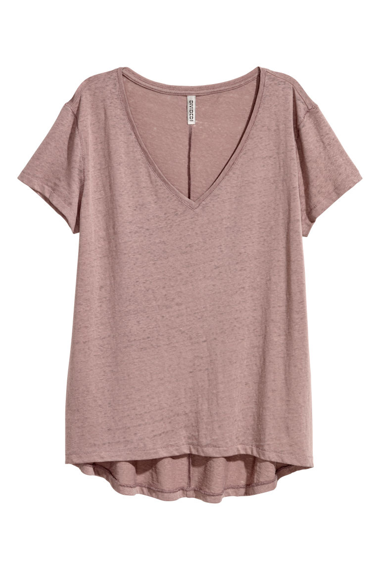V-neck jersey top - Mole -  | H&M