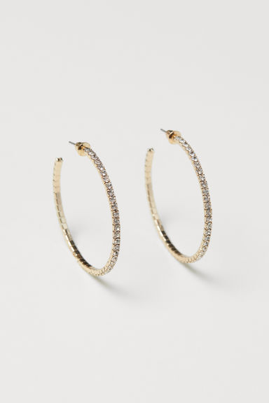 Sparkly hoop earrings - Gold-coloured - Ladies | H&M CN