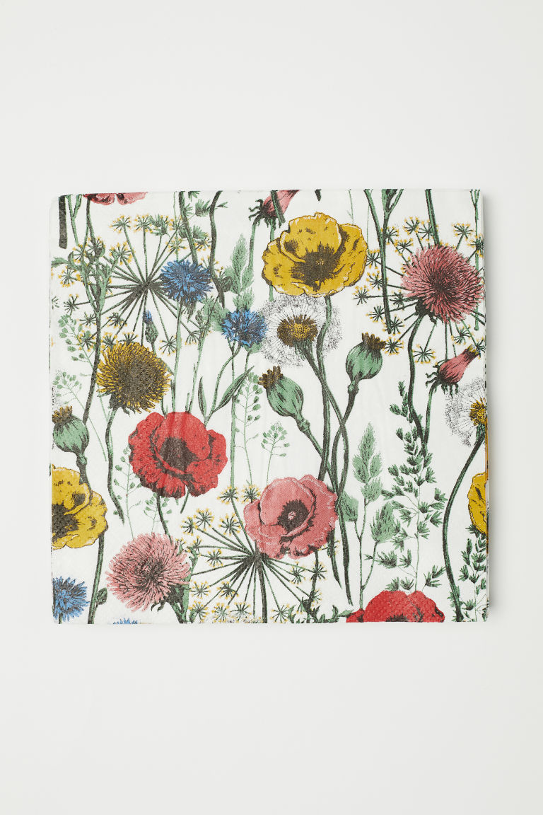 Paper napkins - White/Floral - Home All | H&M CN