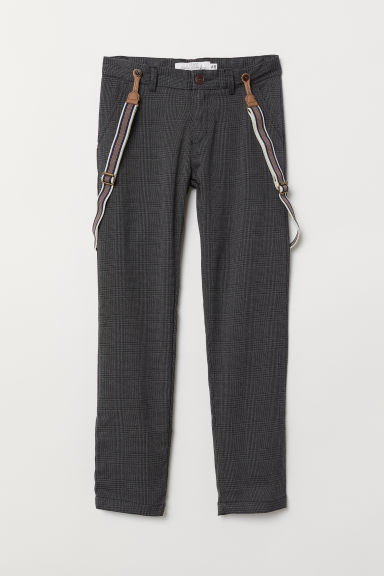 Trousers with braces - Dark grey/Checked - Kids | H&M