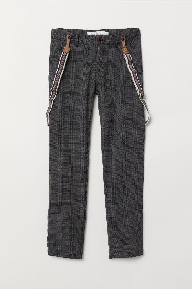 59766c7f Bukse med seler - Mørk grå/Rutet - BARN | H&M ...