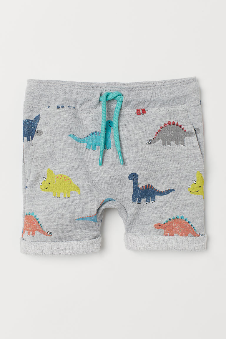 Sweatshirt shorts - Grey marl/Dinosaurs - Kids | H&M