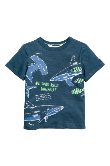 Printed T-shirt - Dark blue/Sharks - Kids | H&M CN