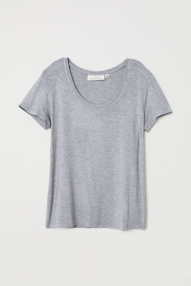 Short-sleeved top - Grey marl -  | H&M CN