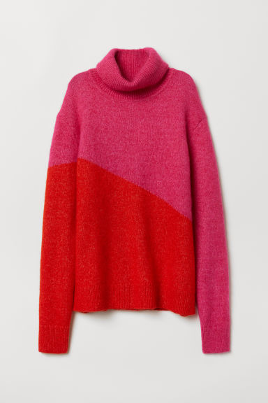 Knitted polo-neck jumper - Cerise/Red -  | H&M CN