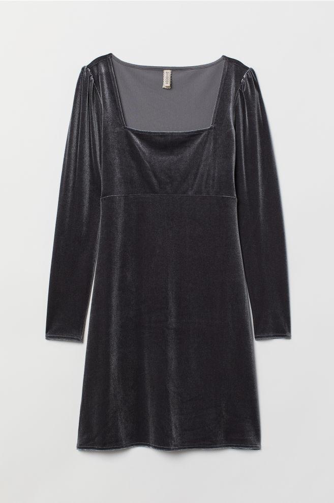 ... Kort klänning i sammet - Grå - DAM  cf83cb15cb0bf
