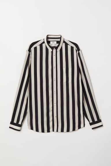 Cupro-blend shirt - Natural white/Black striped - Men | H&M