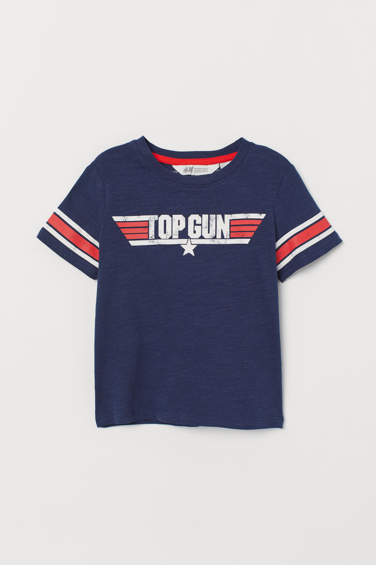 T-shirt with Printed Design - Dark blue/Top Gun - Kids | H&M US