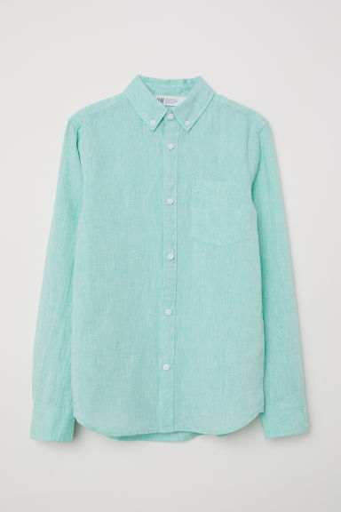 Linen-blend shirt - Mint green - Kids | H&M