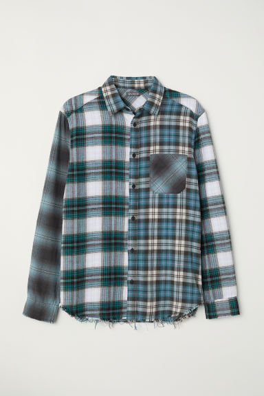 Checked flannel shirt - Dark turquoise/White checked -  | H&M CN