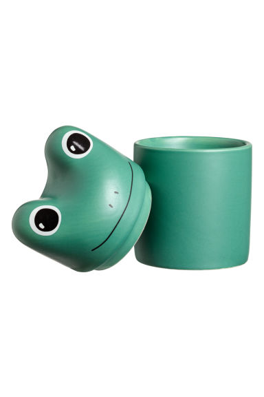 Stoneware pot - Green/Frog -  | H&M IE