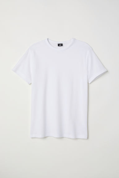 T-shirt van katoenpiqué - Wit - HEREN | H&M BE