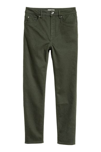 Stretch trousers High waist - Dark green - Ladies | H&M CN