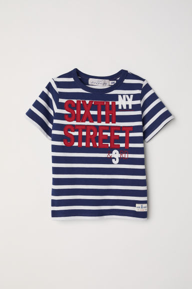 T-shirt with appliqués - Dark blue/Striped - Kids | H&M CN