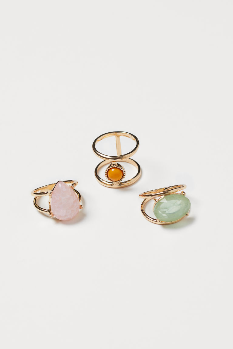 3-pack de anillos - Dorado/Multicolor - Ladies | H&M MX